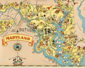 Maryland Map ORIGINAL 9 X 13 Vintage 1930s Antique Picture Map of Maryland - Ruth Taylor White - Baltimore Columbia Germantown Souvenir