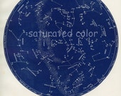 July / Aug Night Sky Constellations Star Chart Map - July & August -  Zodiac Map - Cancer Leo Virgo - 1887 - Vintage