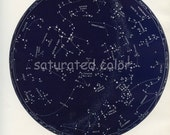 RESERVED for Kat - Feb / March Night Sky Constellations Star Chart Map - February & March - Zodiac Map - Aquarius Pisces Aries- 1887