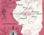 Illinois Map - ORIGINAL Vintage 1960s Picture Map - Fun Retro Colors - Galeburg Peoria Marquette Danville Springfield Alton Souvenir