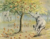 Elephants - Forbidden Fruit - Apple Tree - Vintage Original Children's Bookplate Illustration & Story - Vintage Elephant Family
