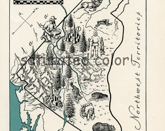 Vintage Yukon Territory ORIGINAL Vintage Canada Map - A Beautifully Illustrated 1940s Picture Map