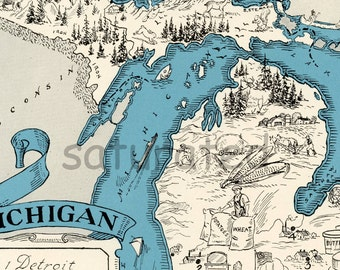 Michigan Map - Vintage - High Res DIGITAL IMAGE Picture Map - Retro Map Art - Charming & Fun - Ann Arbor - Grand Rapids - Lansing - Flint