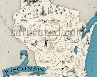 Wisconsin Map Vintage - High Res  DIGITAL IMAGE of a 1930s Vintage Picture Map - Instant Art - Fun  Charming