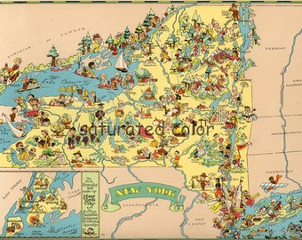 New York Map ORIGINAL 9 x 13 Vintage 1930s Antique Picture Map of New York - Ruth Taylor White - Brooklyn Manhattan Long Island Souvenir