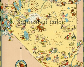 Nevada Map ORIGINAL 9 x 13 Vintage 1930s Antique Picture Map - Ruth Taylor White - Reno Las Vegas Carson City Henderson Paradise Souvenir