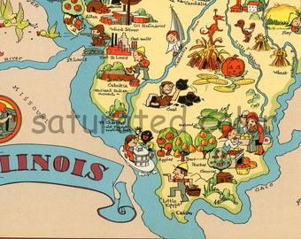 Illinois Map ORIGINAL 9 x 13 Vintage 1930s Antique Picture Map of Illinois - Ruth Taylor White - Chicago Springfield Elgin Rockford Souveni
