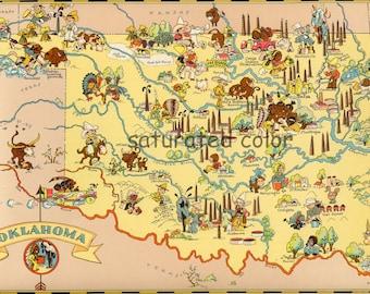 Oklahoma Map ORIGINAL 9 X 13 Vintage 1930s Antique Picture Map of Oklahoma - Ruth Taylor White - Lawton Tulsa Norman Broken Arrow Souvenir