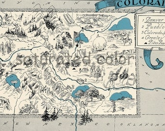 Colorado Map Vintage - Map Art - High Res DIGITAL IMAGE of a 1930s Vintage Picture Map - Turquoise Aqua - Charming & Fun