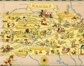 Kansas Map ORIGINAL 9 X 13  Vintage 1930s Antique Picture Map of Kansas - Ruth Taylor White - Wichita Overland Park Kansas City Souvenir