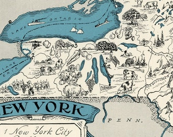 New York Map Vintage - High Res DIGITAL IMAGE of a 1930s Vintage Picture Map - Instant Art - Teal, Black, Cream - Charming & Fun