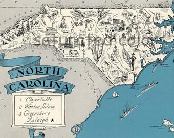 North Carolina Map 1931 ORIGINAL Vintage Picture Map - Antique Charming Teal Aqua - Charlotte Winston Salem Raleigh Greensboro RARE USA Map