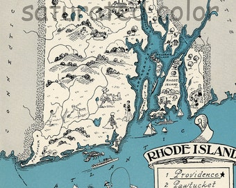 Rhode Island Map Vintage - Map Art - High Res  DIGITAL IMAGE of a 1930s Vintage Picture Map - Turquoise Aqua - Charming & Fun