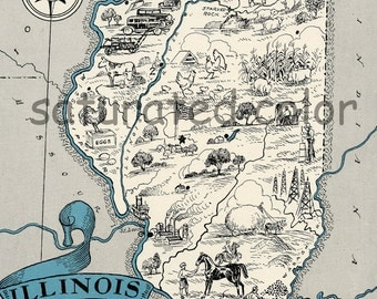 Illinois Map - Map Art - High Res  DIGITAL IMAGE - 1930s Vintage Picture Map - Turquoise Aqua - Charming & Fun - Lake Cottage Decor