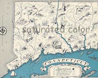 Connecticut Map 1931 ORIGINAL Vintage Picture Map - Antique Map - Charming Teal Aqua - Hartford New Haven Bridgeport Waterbury RARE USA Map