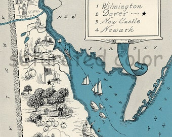 Delaware Map 1931 ORIGINAL Vintage  Picture Map - Antique Delaware Map - Charming - Teal - Wilmington Dover New Castle Newark RARE USA Map