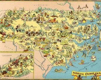 North Carolina Map ORIGINAL 9 x 13 Vintage 1930s Antique Picture Map - Ruth Taylor White - Raleigh Charlotte Asheville Wilmington Souvenir