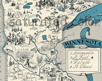 Minnesota Map 1931 ORIGINAL Vintage  Picture Map - Antique Minnesota Map Charming Teal Aqua Saint Cloud Paul Duluth Minneapolis RARE USA Map