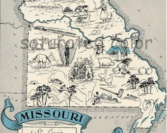 Missouri Map 1931 ORIGINAL Vintage Picture Map - Antique Charming Teal Aqua - St. Louis Kansas City St. Joseph Jefferson City - RARE USA Map