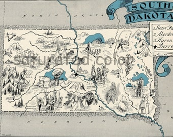 South Dakota Map 1931 ORIGINAL Vintage Picture Map - Antique Map - Charming Teal Aqua - Sioux Falls Aberdeen Huron Pierre - RARE USA Map