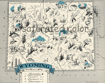 Wyoming Map 1931 ORIGINAL Vintage  Picture Map - Antique Wyoming Map - Charming Teal Aqua - Cheyenne Casper Laramie Sheridan - RARE USA Map