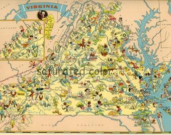Virginia Map ORIGINAL 9 X 13 Vintage 1930s Antique Picture Map - Ruth Taylor White - Norfolk Richmond Chesapeake Arlington Yorktown Souveni