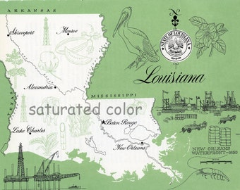 Louisiana Map - ORIGINAL Vintage 1960s Picture Map - Fun Retro Colors  Baton Rouge New Orleans Monroe Shreveport Alexandria Slidell Souveni