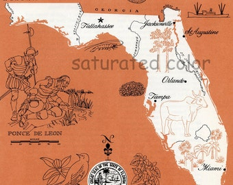 Florida Map - ORIGINAL Vintage 1960s Picture Map - Fun Retro Colors - Orlando Tampa Tallahassee Orlando Miami St. Augustine Souvenir