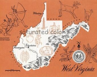 West Virginia Map - ORIGINAL Vintage 1960s Picture Map - Fun Retro Colors - Wheeling Charleston Huntington Parkersburg Morgantown  Souvenir