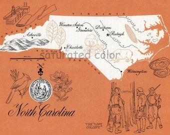 North Carolina Map - ORIGINAL Vintage 1960s Picture Map - Fun Retro Colors - Raleigh Durham Greensboro Wilmington Asheville Cary Boone