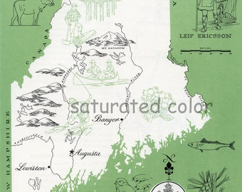 Maine Map - ORIGINAL Vintage 1960s Picture Map - Fun Retro Colors - Auburn Saco Biddeford West Scarborough Penobscot River Souvenir