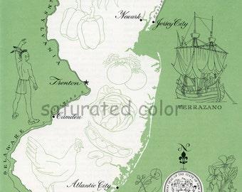 New Jersey Map - ORIGINAL Vintage 1960s Picture Map - Fun Retro Colors - Newark Trenton Atlantic City Camden Paterson Elizabeth Souvenir