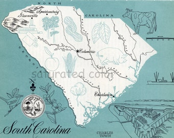 South Carolina Map - High Res DIGITAL IMAGE 1960s Picture Map - Fun Retro Colors - image transfer for cards totes pillows souvenir prints