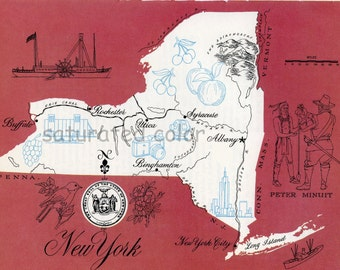 New York Map - ORIGINAL Vintage 1960s Picture Map - Fun Retro Colors - Albany Syracuse Utica Binghamton Long Island Rochester Souvenir