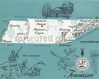 Tennessee Map - ORIGINAL Vintage 1960s Picture Map - Fun Retro Colors - Murfreesboro Columbia Clarksville Harriman Greenveill Souvenir
