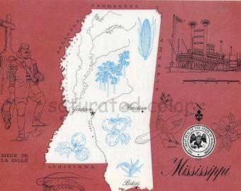 Mississippi Map - ORIGINAL Vintage 1960s Picture Map Fun Retro Colors - Meridian Jackson Biloxi Oxford Gulfport Tupelo Hattiesburg Souvenir