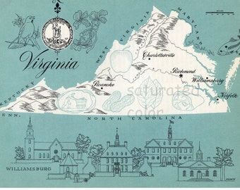 Virginia Map - ORIGINAL Vintage 1960s Picture Map - Fun Retro Colors - Charlottesville Richmond Norfolk Wiliamsburg Roanoke Souvenir