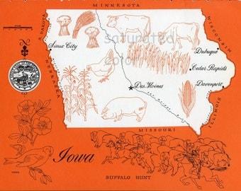 Iowa Map - ORIGINAL Vintage 1960s Picture Map - Fun Retro Colors - Sioux City Des Moines Davenport Dubuque Cedar Rapids Waterloo Souvenir