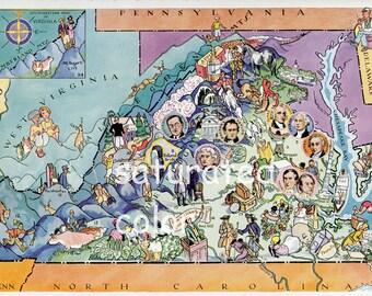 Virginia Map ORIGINAL Vintage 1932 Picture Map - Elmer Berta Hader Antique Charlottesville Williamsburg Richmond Norfolk Hampton Roads