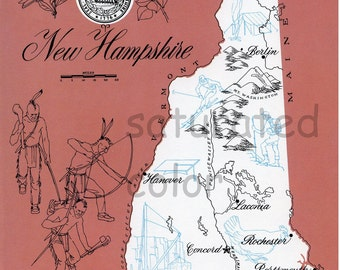 New Hampshire Map - ORIGINAL Vintage 1960s Picture Map - Fun Retro Colors Hanover Laconia Rochester Portsmouth Exeter Keene Berlin Souvenir