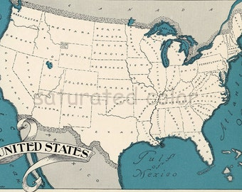 USA Map 1931 Original Vintage Picture Map - Antique Charming Teal Aqua - Texas California Florida Michigan North Carolina RARE United States