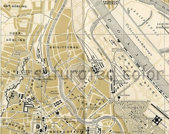 Vienna Austria Map ORIGINAL 1895 Antique City of Vienna Austria Map - Wonderful Landmarks - Vintage Austria