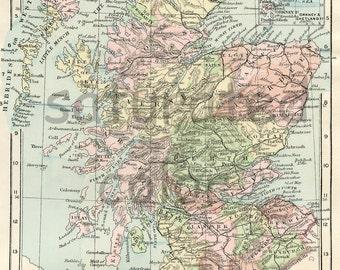Scotland Map ORIGINAL Antique 1895 Map of Scotland - British Isles - UK - Vintage Scotland Map - Edinburgh Glasgow Aberdeen Dundee Paisley