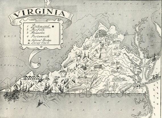 Virginia Map Vintage - A Delightfully Amusing ORIGINAL 1950s Vintage Map of Virginia - Fun - LAST ONE