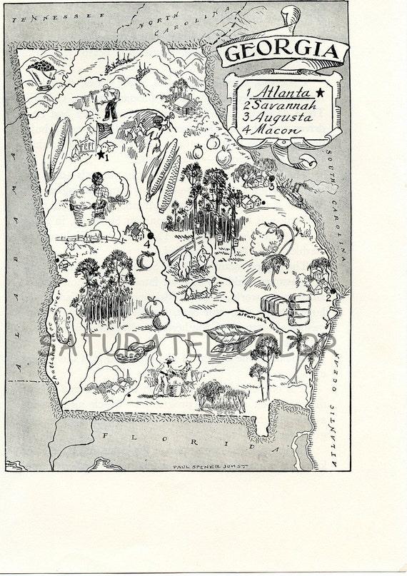 Georgia Map - A Delightfully Amusing ORIGINAL Vintage Map - 1950s Fun