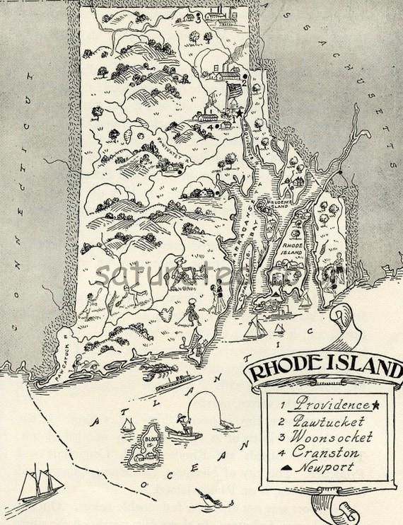 Rhode Island Map ORIGINAL Vintage 1950s Picture Map - 1950s Fun - Delightfully amusing ~ Fun & Charming - Newport Providence Warwick Bristo