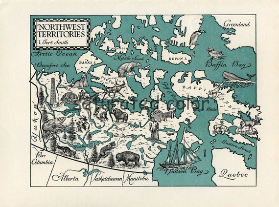 Northwest Territories ORIGINAL Vintage Map - Canada Map - A 1940s Beautifully Illustrated ORIGINAL Vintage Picture Map