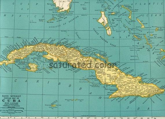 Bahamas Caribbean Jamaica Cuba Map Vintage Saturatedcolor