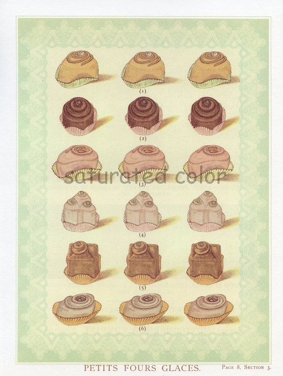 Vintage Petits Fours Glaces Prints - Cakes Gateaux - Victorian Dessert Patisserie Valentine's Day Bridal Birthday