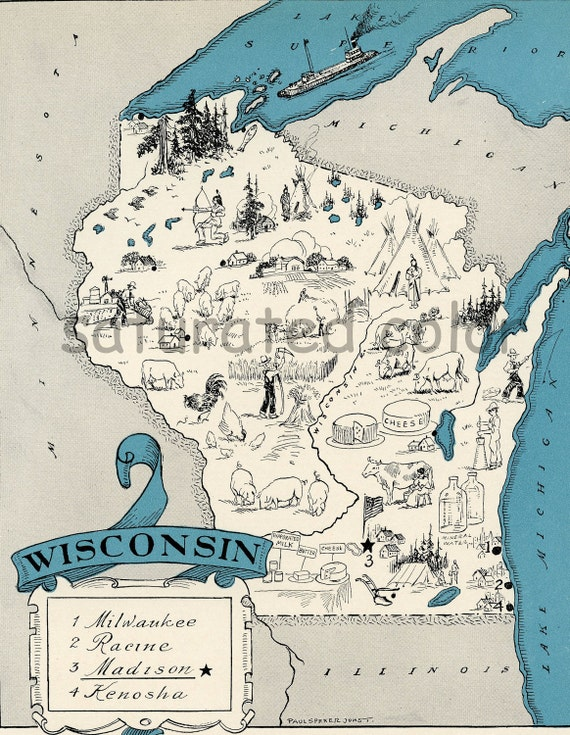 Wisconsin Map 1931 ORIGINAL Vintage  Picture Map - Antique Wisconsin Map - Charming Teal Aqua - Milwaukee Racine Madison Knosha RARE USA Map